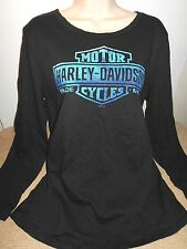 NWT Harley Davidson Motorcycle Scoop Neck Black long sleeve Top Size 2XL