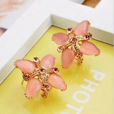 Women's Lady Elegant Crystal Rhinestone Cross Clover Ear Stud Earrings Jewelry