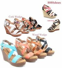Women's Fashion Open Toe Buckle  Wedge Platform Sandal Shoes Size 6 - 11 NEW