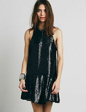 FREE PEOPLE Liquid Shine Black Sequin Mini party club drop waist Dress size XS-M