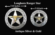 "LOT OF 6 LONGHORN RANGER STAR CONCHOS ANTIQUE SILVER & GOLD SIZES:1 1/2""; 1 1/8"""