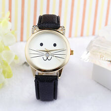 Fashion Women Watch Lovely Cats Dial Rhinestone Faux Leather Analog Quartz Watch