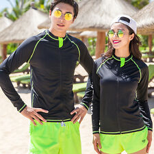Zip Up Rash Guard  Sun Shirt Uv Surf Swim Top Lycra Swimsuit Quick Dry Beach Top