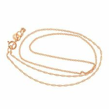 "Girls' 14k Solid Yellow, White or Rose Gold Thin Rope Chain - 13"" 15"""
