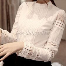 Elegance Womens Cotton Shirt OL Long Sleeve Hollow Lace Sexy Tops Blouse T-Shirt