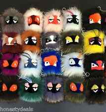 Genuine fox fur monster Pom Pom ball bag ornaments charm, car key chain pendant,