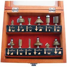 "12pc 1/4"" Professional Shank TCT Tipped Router Bit Set With Wooden Case F3700A"