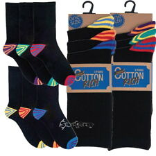 6/12 Pairs Mens Cotton Rich Colour stripe Heel & Toe Black Socks Shoe Size 7-11