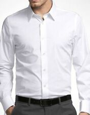 $59 Express Men's 1MX Solid White Modern Fit Stretch Cotton Sexy Dress Shirt