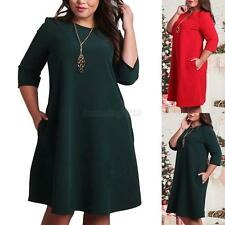New Sexy Women Solid Plus Size Casual Party Evening Loose Long Sleeve Dress B44