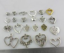Mix Gold/Silver/Bronze Heart Spacer Bail Beads Charms Pendants Jewelry Findings