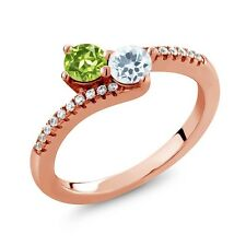 0.76 Ct Peridot Sky Blue Aquamarine Two Stone 18K Rose Gold Plated Silver Ring
