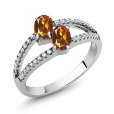 1.21 Ct Oval Orange Red Madeira Citrine Two Stone 925 Sterling Silver Ring