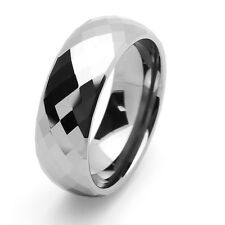 Men's 8MM Tungsten Ring Silver Color Domed Faceted Wedding Band For Unisex