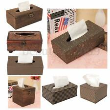 PU Leather Tissue Box Cover European Rectangle Paper Home Car Decor Storage Case