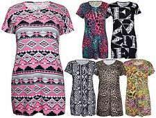 Womens New Leopard Animal Print Ladies Short Sleeve Long T-Shirt Top Plus Size
