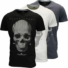 Crosshatch Mens Designer Graphic Skull Print T-Shirt Available in 3 Colours BNWT