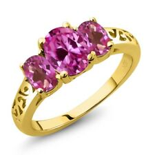 2.65 Ct Pink Created Sapphire & Mystic Topaz 18K Yellow Gold Plated Silver Ring