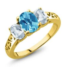 2.30 Ct Oval Swiss Blue and Sky Blue Topaz 18K Yellow Gold Plated Silver Ring