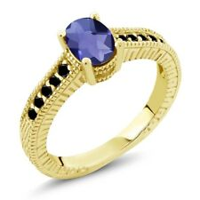 0.98 Ct Checkerboard Iolite and Black Diamond 18K Yellow Gold Plated Silver Ring