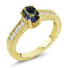 1.35 Ct Mystic Topaz & White Created Sapphire 18K Yellow Gold Plated Silver Ring