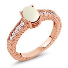 1.03 Ct Cabochon White Opal Created Sapphire 18K Rose Gold Plated Silver Ring