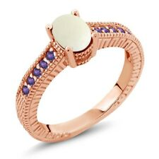 1.03 Ct Cabochon White Opal Purple Amethyst 18K Rose Gold Plated Silver Ring