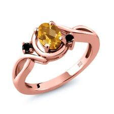 0.77 Ct Oval Checkerboard Citrine Black Diamond 18K Rose Gold Plated Silver Ring