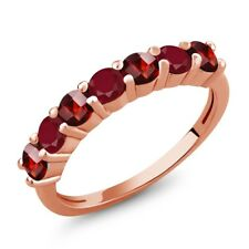 1.66 Ct Round Checkerboard Red Garnet Red Ruby 18K Rose Gold Plated Silver Ring