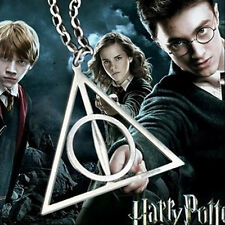 Harry Potter Deathly Hallows Alloy Charms Pendants Triangle Long Chain Necklace
