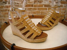 Matt Bernson Brown Suede Strappy Wedge Sandals New