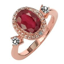 1.64 Ct Oval African Red Ruby White Diamond 18K Rose Gold Plated Silver Ring