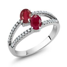 1.66 Ct Oval African Red Ruby Red Ruby Two Stone 925 Sterling Silver Ring