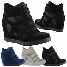 Edie Womens Hidden Wedges Heels Ladies Glitter Shimmer Trainers Ankle Boots Size