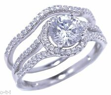 White Gold Halo Round Cut CZ Genuine Sterling Silver Wedding Engagement Ring