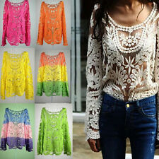 Women's Embroidery Hollow Semi Sheer Lace Crochet Tee Floral Shirt Top Blouse ST