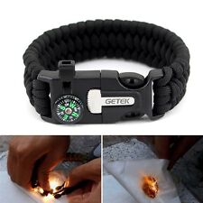 Survival Bracelet Paracord Compass Flint Fire Starter Scraper Whistle Gear Kit B