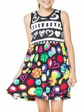 Desigual Kampala Sleeveless Jersey Girls Dress Multi Print on Black