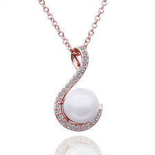 Women Elegant Choker 18K Gold Plated Crystal Pearl Pendant Necklace Jewelry Gift