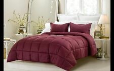 3pc Reversible Burgundy Solid and Emboss Striped Comforter Set -Best seller