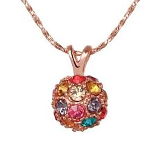 18K Gold Plated Swarovski Colorful Crystal Beads Womens Wedding Necklace Pendant