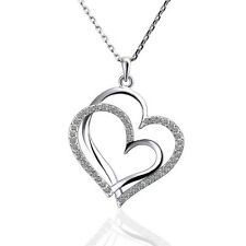 NWT 18K Rose White Yellow Gold Plated Swarovski Crystal Hearts Necklace Pendant