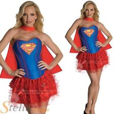 Ladies Sexy Supergirl Corset Costume Superhero Superman Adult Fancy Dress Outfit