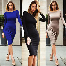 Sexy Women Long Sleeve Night Club Bodycon Dress Back Zipper Cocktail Dresses