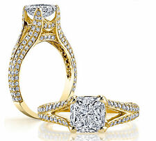 Diamond Split Shank Open Cathedral Illusion Set Pave Princess Engagement ring!