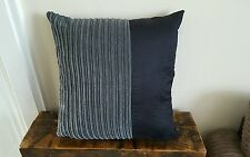 22 x 22 Trendy grey jumbo cord and black faux suede cushion cover.