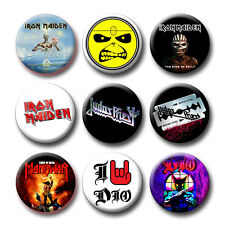 IRON MAIDEN - JUDAS PRIEST - DIO - MANOWAR CD Covers Buttons Pins (30 Models)