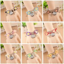 Wrist Watch Quartz Charm Bracelet Vintage Jewellery Flower Butterfly Bangle