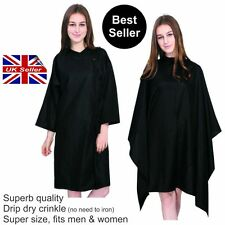 Hairdressing Gown Cape CRINKLE non iron KING SIZE with or without sleeves BLACK