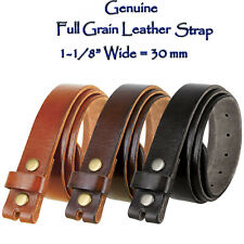 "1-1/8"" WIDE VINTAGE GENUINE FULL GRAIN LEATHER STRAP (3 COLORS)  SIZES 32"" - 46"""